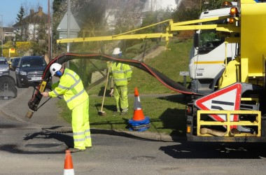 Pothole repairs: a TfB team use a Jet Patcher to repair a damaged road surface